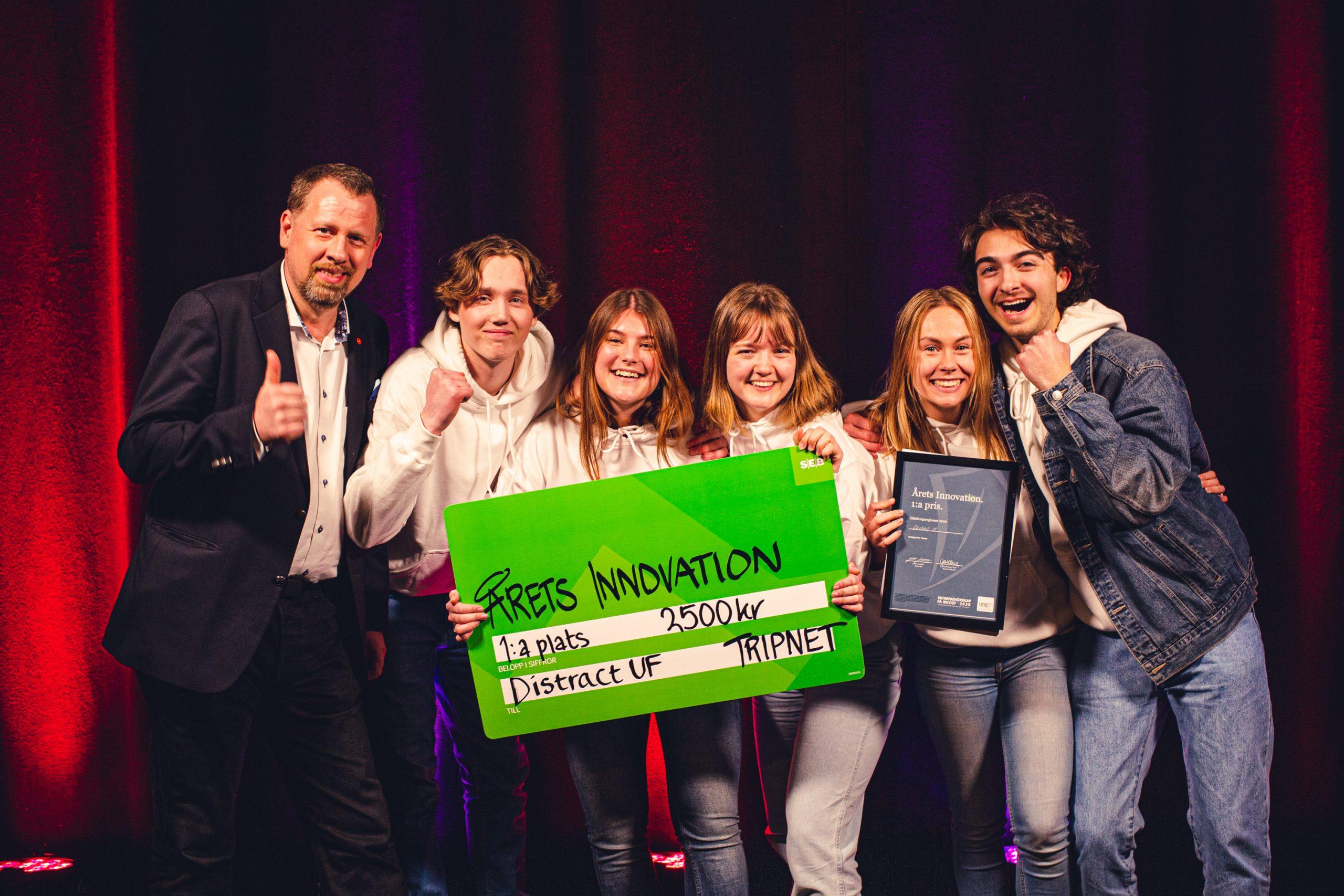 Distract UF, vinnare i Årets Innovation på UF-mässan i Göteborg 2020. Tävlingsvärd är Tripnet.